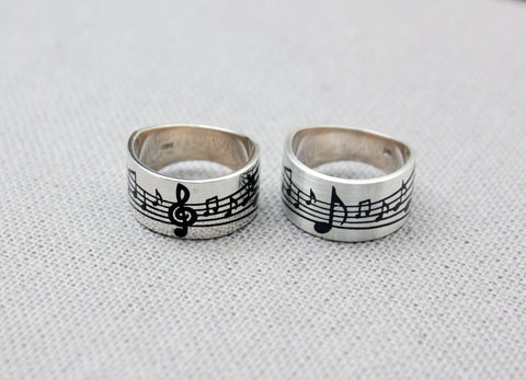 925 Sterling Silver Music note Score Ring, Treble Clef Ring, Manuscript paper Ring