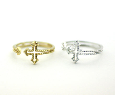 Sideways Cross Wrap Ring in 3 colors (925 sterling silver / plated over Brass), R0193G