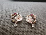 Mother of Pearl  Daisy flower and Cubic circle earrings, Flower cubic wreath earrings