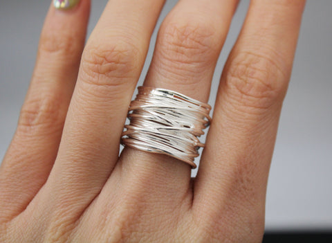 925 sterling silver Twig branch Ring in Gold / Silver, Branch ring, Tree ring, Thick ring