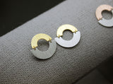 Two Tone Linked Circle Earrings, Open Circle Earrings, Connected circle earrings