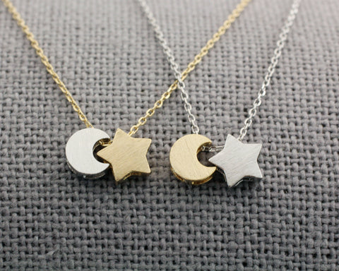 925 sterling silver Tiny Crescent moon and Star necklace, 2 Tone Crescent moon and Star necklace