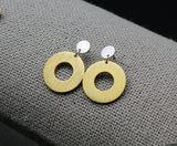 Two Tone Linked Circles Earrings, Open Circle Earrings, Connected disc earrings ,Coin earrings