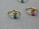 Pineapple Gemstone point Ring, Pineapple ring pointed with OPAL,  pineapple stacking ring, Fruit Gemstone Ring