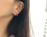 925 sterling silver Tiny Hoop earrings with cubic, huggie hoops earrings