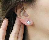 Cute Mountain Stud Earrings, Snow Mountain Peak Earrings in 3 colors