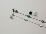 925 Sterling Silver Crystals drop long earrings, Green crystals Drops Earrings, Long Chain earrings, Unbalance earrings