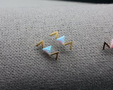 Triangle earrings pointed with OPAL,  Opal detailed triangle earrings, arrow opal earrings