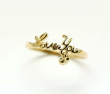 "925 sterling silver Ring type of "" Love you"" with heart charm"