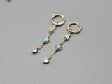Long dangle earrings pointed with OPAL, Hoop earrings with Opal, Opal huggie hoops earrings
