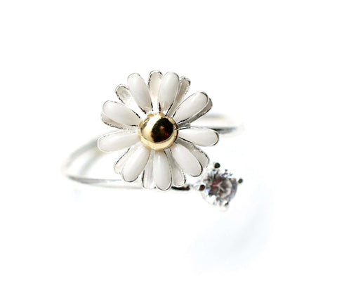 White Daisy Flower with Crystal- Adjustable Ring (925 sterling silver / plated over Brass)