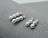 925 Sterling Silver Swarovski pearls bra drop Earrings, Pearls Drop line earrings, Cubic and pearl earrings