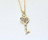 HEART KEY with clear CZ stones pendant  in Gold / Silver