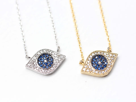 14962aebfc89 EVIL EYE Pendant Necklace detailed in Swarovski setting(925 sterling  silver  Brass)