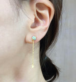 Planet earrings pointed with OPAL,  Long dangle Space opal earrings, Saturn opal Gemstone earrings