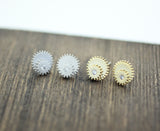 Gear Cog wheel stud earrings in gold / silver, E0222S