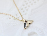 Cute and tiny Whale tail pendant Necklace in gold silver
