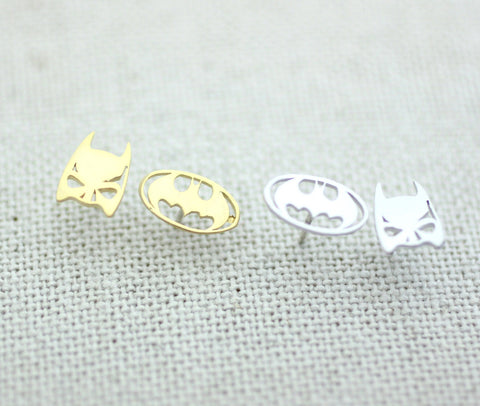Dark night Batman Mask and Logo studs earrings 2 color-silver,gold, E0223S