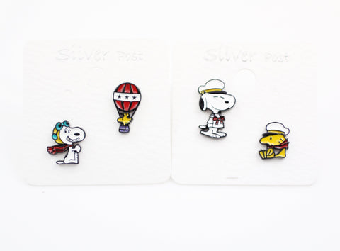 Cute Snoopy and Woodstock Best Friend Unbalance Earrings 2 Types, air force snoopy / navy snoopy