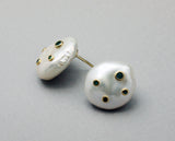 925 Sterling Silver Large baroque pearl earrings, baroque pearl stud earrings embedded with emerald.
