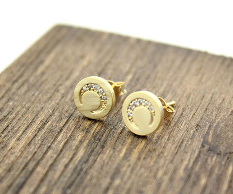 Crescent moon Disc stud Earrings detailed with CZ in 2 colors , E0227G