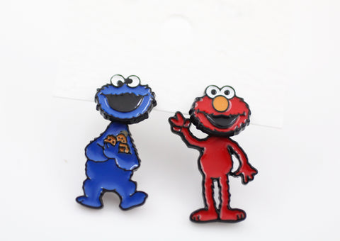 Sesame Street Stud Earrings , Cookie Monster And Elmo Earrings, The Muppet Show Cartoon Earrings, Cookie Monster And Elmo Ear Jacket