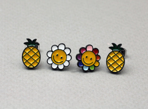 Cute Illustration Earrings, Pineapple and Smiley face Flower Stud earrings