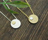 You are my sunshine pendant necklace in gold / silver, N0230G