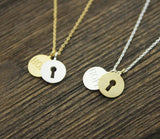 Hope and Keyhole pendant Necklace in gold / silver, N0237G