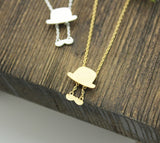 Mustache and Top hat charm pendant Necklace in 2 colors , N0231G