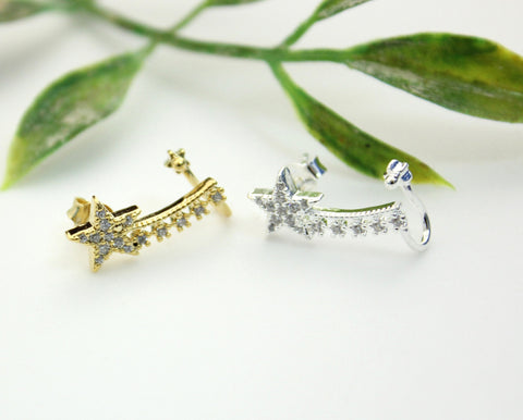Shooting Shiny Star  Ear Cuff detailed with CZ in gold / silver , E0239G
