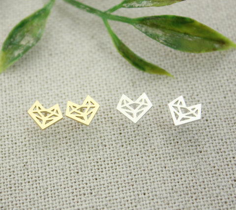 Cut-out Fox charm stud earrings in gold /silver