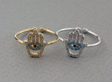 Hamsa hand Adjustable Ring , Hand of Hamsa Ring, Cubic Hand of Hamsa Ring, Diamond hamsa ring
