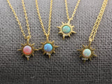 Sunshine necklace  pointed with OPAL, Sun Beam Necklace, Sunburst with Opal Necklace, Opal Sunburst Necklace, Starburst Necklace