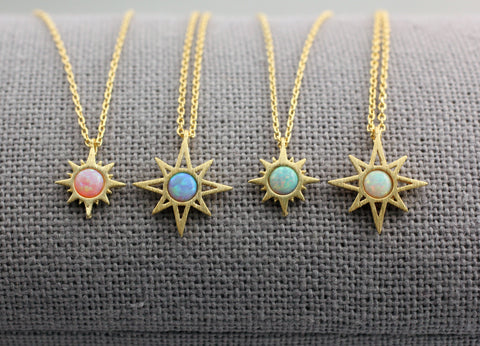 Sunshine necklace  pointed with OPAL, Sun Beam Necklace, Sunburst with Opal Necklace