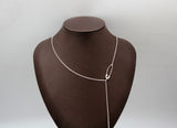 925 sterling silver Safety Pin charm and chain Lariat Necklace, Safety Pin Y necklace