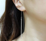 Long Bar and Chain Ear Threader ,Pull Through Earrings. Bar and chain long Earrings