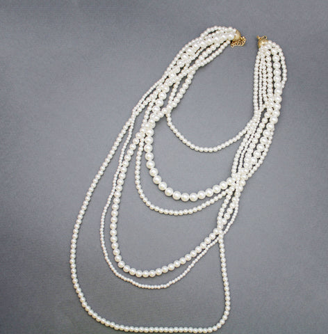 Classic Style Multi Layered Strand Pearl Necklace, Long Pearl Necklace, Six Strand Pearl Necklace