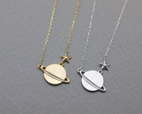 Planet and Tiny Star necklace, Space necklace, Moon and Star necklace