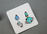 Cute Astronaut Planet and Rocket post earrings, Space earrings, Astronaut dangle earrings