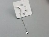 Crescent Moon and Tiny Star Earrings ,Dangle Crescent moon and star earrings, Long Chain Drop moon and star earrings
