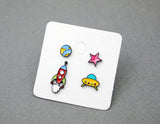 Cute U.F.O, Earth, Rocket and Star post earrings, Space earrings, Rocket dangle earrings