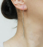 Long  Zig Zag Bar Ear Threader , Zig Zag Bar Pull Through Earrings