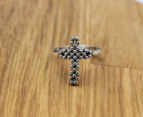 925 Sterling silver Big Antique Cross statement Ring