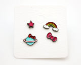 Set of 4 Cute Illustration Earrings, Elephant, Giraffe, Flamingo, Boat, Rainbow Stud earrings