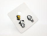 Cute Snoopy and Woodstock Best Friend Set of 3 Unbalance Earrings