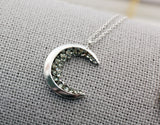 Crescent moon pendant Necklace detailed with Black Diamond Crystals