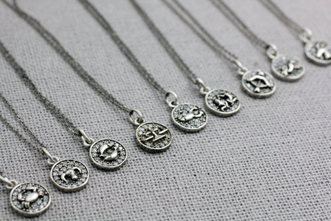 925 sterling silver Zodiac Sign pendant Necklace / Constellation Signs necklace
