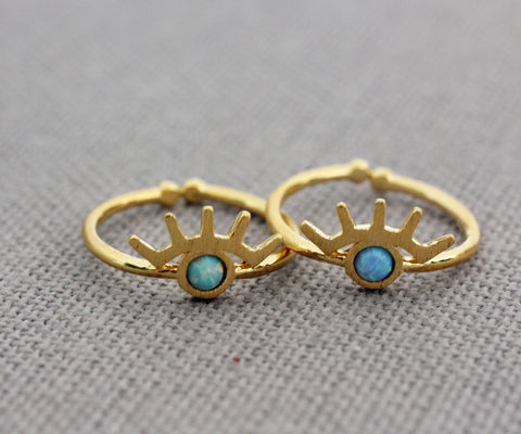 EVIL EYE ring  pointed with OPAL, EVIL EYE stacking ring, EVIL EYE Midi Ring, Evil Eye Gemstone Ring