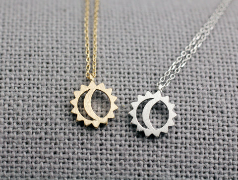 565a8c68b3 925 Sterling silver Sun and moon pendant necklace ,sun moon jewelry,wi